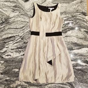 Max and Cleo Taupe Crinkle Dress Sz 6 Beauty